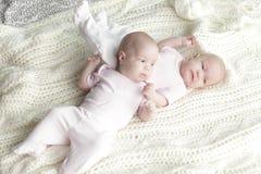 Tweelingbabymeisjes stock afbeelding
