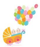 Tweelingbabywandelwagen met ballon Van de de groetkaart van de babydouche de vectorillustratie Stock Afbeeldingen