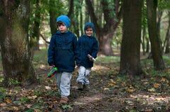 Tweelingbroers die in het hout wandelen Stock Foto