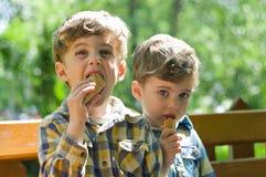 Tweelingen die roomijs eten Royalty-vrije Stock Afbeeldingen