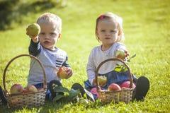 Tweelingen met appelen stock afbeeldingen