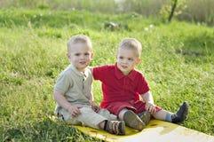 Tweelingen op de weide Royalty-vrije Stock Foto's