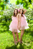 Tweelingen in roze poppenstijl Stock Fotografie