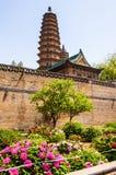 Tweelingenpagoden en het pioen-oude oriëntatiepunt van de stad van Tai-Yuan stock fotografie