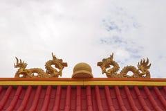 Tweelingenschuim het bewerken draak met marmer in het midden bovenop rood dak stock afbeeldingen