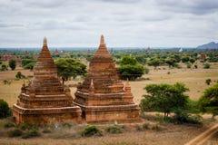 Tweelingenstupas in Bagan, Myanmar royalty-vrije stock afbeelding