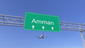 Tweelingmotor commercieel vliegtuig dat aan Amman luchthaven aankomt Het reizen naar het conceptuele 3D teruggeven van Jordanië vector illustratie