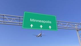 Tweelingmotor commercieel vliegtuig dat aan de luchthaven van Minneapolis aankomt Het reizen naar het conceptuele 3D teruggeven v vector illustratie