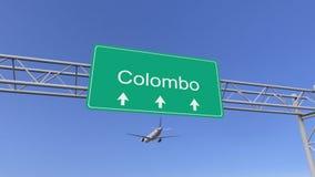 Tweelingmotor commercieel vliegtuig die aan Colombo-luchthaven aankomen Het reizen naar het conceptuele 3D teruggeven van Sri Lan vector illustratie