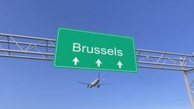 Tweelingmotor commercieel vliegtuig die aan de luchthaven van Brussel aankomen Het reizen naar het conceptuele 3D teruggeven van  stock illustratie