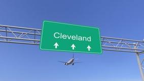 Tweelingmotor commercieel vliegtuig die aan de luchthaven van Cleveland aankomen Het reizen naar het conceptuele 3D teruggeven va vector illustratie
