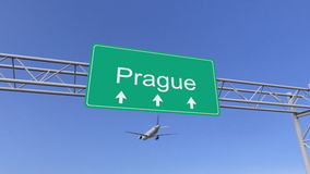 Tweelingmotor commercieel vliegtuig die aan de luchthaven van Praag aankomen Het reizen naar het conceptuele 3D teruggeven van de royalty-vrije illustratie