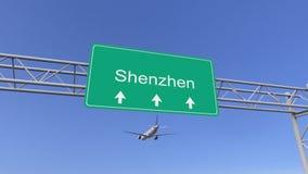 Tweelingmotor commercieel vliegtuig die aan Shenzhen-luchthaven aankomen Het reizen naar het conceptuele 3D teruggeven van China Royalty-vrije Stock Afbeeldingen
