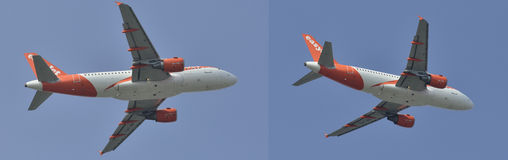 Tweelingmotorjet die in verschillende posities vliegen Stock Foto
