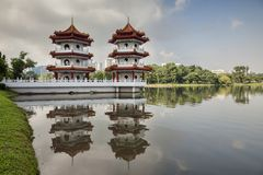 Tweelingpagoden, Chinese Tuin, Singapore stock fotografie