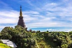 Tweelingpagoden en park in Doi Inthanon, Chiang-MAI Royalty-vrije Stock Foto's