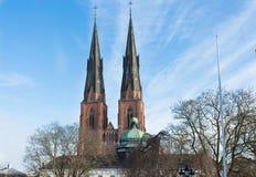 Tweelingtorens van de Kathedraal van Uppsala en het Anatomische Theater in Gustavianum royalty-vrije stock afbeelding