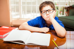 Tween bored from homework Royalty Free Stock Photos