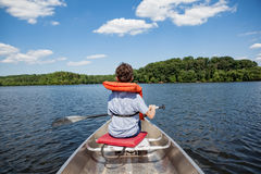 Tween boy in rowboat Stock Photography