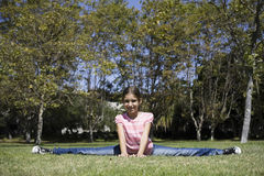 Tween Girl Doing Gymnastics Stock Image
