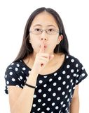 Tween Girl With a Silence Gesture Stock Photos