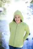 Tween Girl standing by Lake Stock Image