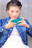 Tween Girl Texting Royalty Free Stock Images