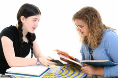Tween Girls in Study Session royalty free stock images