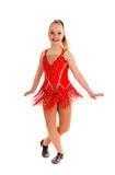 Tween Jazz Dancer in Red Royalty Free Stock Images