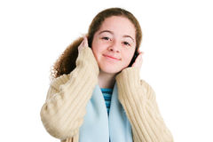 Tween Listens to Headphones Stock Images