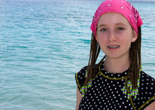 Tween at the ocean stock image
