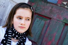 Tween By the Old Door Stock Photos