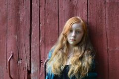Tween with red barn backdrop Stock Photo