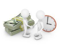 Tweepersoons, dollars en klok Stock Afbeeldingen