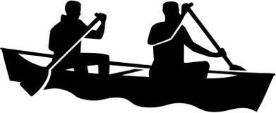 Tweepersoons in een kano Canoeing royalty-vrije illustratie