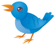 Tweet. Vector cartoon illustration of a cute blue bird twittering and tweeting stock illustration