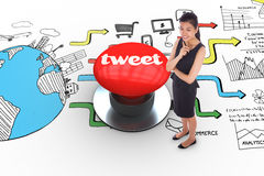 Tweet against digitally generated red push button Royalty Free Stock Photos