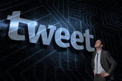 Tweet against futuristic black and blue background Royalty Free Stock Photos