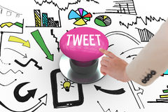 Tweet against pink push button Stock Photos