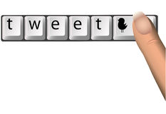 Tweet auf SozialNetork Computer-Tasten Stockbilder