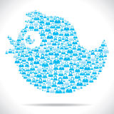 Tweet bird make with group of people Royalty Free Stock Photos