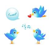 Tweet birds. Tweet blue birds set for your designs Royalty Free Stock Images