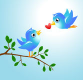 Tweet birds. Tweet blue birds set for your designs Royalty Free Stock Photography