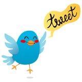 Tweet blu dell'uccello Fotografie Stock