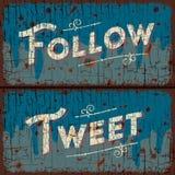 Tweet, follow words - social media concept Stock Image