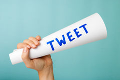 Tweet megaphone concept. On blue background Royalty Free Stock Photography