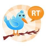Tweet and Retweet. A bird icon with the RT for retweet