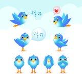 Tweet set. Tweet-tweet blue birds set vector illustration