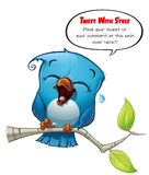 Tweeter Blue Bird Laughing. A blue bird avatar twits with style your comments or opinions to the world Stock Image