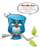 Tweeter Blue Bird Sober. A blue bird avatar twits with style your comments or opinions to the world Stock Photography